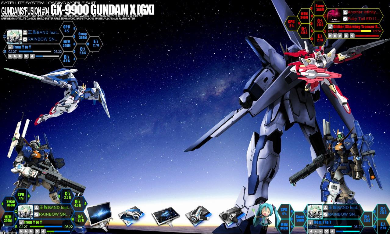 Desktop Goodies Gundam 00 No1 Type H Rainmeter
