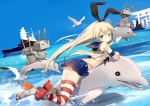 Konachan.com - 174095 animal bird blonde_hair blue_eyes boat boots dolphin fish headband long_hair rensouhou-chan sheska_xue skirt sky thighhighs torii water