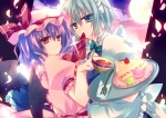 Konachan.com - 142283 2girls blue_eyes blue_hair braids cake food gray_hair hat izayoi_sakuya kiseri_momo moon petals red_eyes short_hair strawberry touhou wings