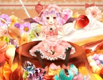 Konachan.com - 142308 blush bow cake candy dress flowers hat heart mushipan pink_hair red_eyes remilia_scarlet ribbons short_hair strawberry touhou wings