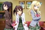 Konachan.com - 154441 blonde_hair boku_wa_tomodachi_ga_sukunai candy kashiwazaki_sena matsuyama_aiko mikazuki_yozora scan seifuku shiguma_rika valentine