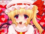 Konachan.com - 154744 blonde_hair blush flandre_scarlet red_eyes shimotsuki_keisuke short_hair touhou valentine wings