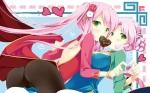 Konachan.com - 155208 2girls ass cafe_sourire cameltoe chinese_dress cuffs green_eyes mizushima_kasumi mizushima_serika natsume_eri pantyhose pink_hair valentine
