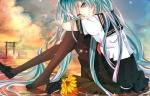 Konachan.com - 169520 flowers hatsune_miku isagot pantyhose seifuku sunflower vocaloid