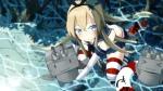 Konachan.com - 170542 blonde_hair blue_eyes blush cat_smile kantai_collection long_hair o_daizen panties shimakaze_(kancolle) thighhighs underwear water