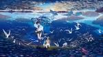 Konachan.com - 172069 animal bikini_top bird blue_eyes blue_hair boots camera clouds dog hat hatsune_miku hpknight landscape scenic shorts sky vocaloid water wink