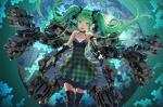 Konachan.com - 172775 dress elbow_gloves green_eyes green_hair hatsune_miku microphone salmon88 tell_your_world_(vocaloid) thighhighs twintails vocaloid zettai_ryouiki