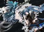 Konachan.com - 173662 blue_eyes blue_hair flowers garter_belt hatsune_miku long_hair music nello_(luminous_darkness) stockings twintails vocaloid