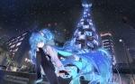 Konachan.com - 175101 aqua_eyes aqua_hair beek building city hatsune_miku long_hair night sky snow stars thighhighs twintails vocaloid