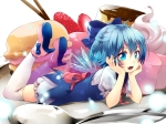 Konachan.com - 176972 blue_eyes blue_hair bow cake cirno fang food fruit hijiri-ssh short_hair strawberry thighhighs touhou wings