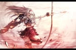 Konachan.com - 177248 armor bow_(weapon) gloves headband kantai_collection long_hair mondo red_eyes shoukaku_(kancolle) skirt thighhighs weapon white_hair