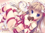 Konachan.com - 177992 animal_ears blue_eyes chocolate cleavage long_hair nude ribbons tagme tail valentine yukie