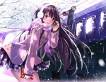 Konachan.com - 177993 blush brown_eyes long_hair original purple_hair scarf skirt snow swordsouls train valentine