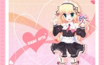 Konachan.com - 68652 blonde_hair chimaro chocolate garter_belt kisaragi_gold_star long_hair nitta_ichika thighhighs valentine