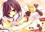 Konachan.com - 86166 amane_kurumi candy chocolate lollipop original skirt thighhighs