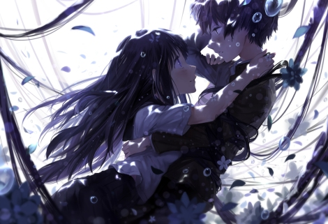 Konachan.com - 162251 black_hair bubbles chitanda_eru cici flowers hyouka long_hair oreki_houtarou petals tagme