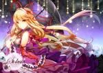 Konachan.com - 165369 blonde_hair dress jeminl long_hair orange_eyes petals stars touhou umbrella yakumo_yukari