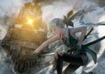 Konachan.com - 165897 archlich gloves gray_hair katana konpaku_youmu ponytail sword torn_clothes touhou train weapon yakumo_yukari