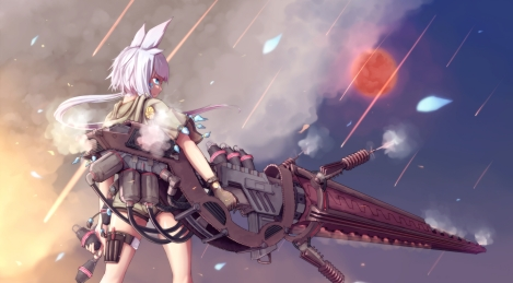 Konachan.com - 167129 animal_ears blue_eyes dararito gloves gun original ponytail purple_hair weapon