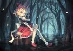 Konachan.com - 167411 blonde_hair blue_eyes bow doll dress forest medicine_melancholy orita_enpitsu ribbons short_hair socks su-san touhou tree water wings