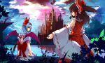 Konachan.com - 169394 hakurei_reimu haraguroi_you japanese_clothes jpeg_artifacts miko remilia_scarlet touhou wings