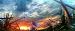 Konachan.com - 170625 blue_hair cross dress grass hat hinanawi_tenshi long_hair ryosios scenic sky sunset sword touhou weapon