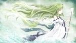 Konachan.com - 171007 cloudy.r green_eyes green_hair japanese_clothes kochiya_sanae long_hair miko touhou water