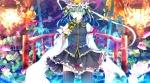 Konachan.com - 172751 blue_eyes flowers green_hair hat headdress saden_(magumo) shikieiki_yamaxanadu skirt thighhighs touhou