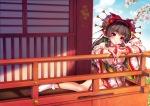Konachan.com - 172804 brown_hair cherry_blossoms hakurei_reimu japanese_clothes red_eyes ribbons socks touhou youqiniang yukata