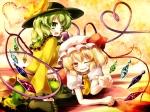 Konachan.com - 173056 2girls blonde_hair flandre_scarlet gengetsu_chihiro gray_hair green_eyes hat komeiji_koishi red_eyes touhou wings wink