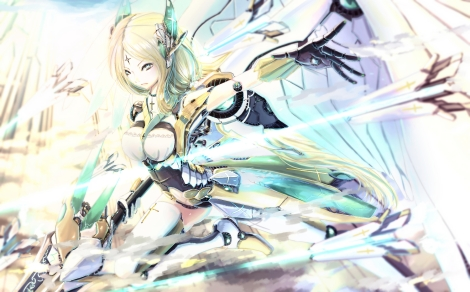Konachan.com - 178595 blonde_hair green_eyes kikivi mechagirl original sword thighhighs weapon wings