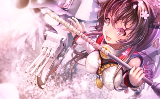 Konachan.com - 178616 brown_eyes brown_hair cherry_blossoms flowers kantai_collection pakupaku_choppu petals red_eyes weapon yamato_(kancolle)