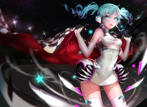 Konachan.com - 178619 blue_eyes blue_hair elbow_gloves hatsune_miku sa_(h28085) thighhighs vocaloid zettai_ryouiki