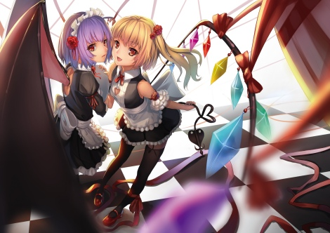 Konachan.com - 178757 2girls ac_xsk apron blonde_hair fang flandre_scarlet headdress maid purple_hair red_eyes remilia_scarlet ribbons stockings touhou wings
