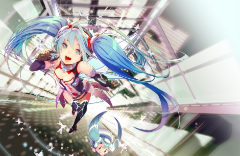 Konachan.com - 179044 blue_eyes blue_hair gin_(oyoyo) hatsune_miku long_hair microphone twintails vocaloid