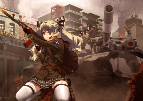 Konachan.com - 179563 boots building city fire gloves goggles gun long_hair military original purple_eyes ribbons ruins skirt thighhighs twintails uniform weapon white_hair