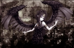 Konachan.com - 159197 black_hair dress fabled_grimro feathers necklace wings yu-gi-oh