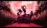 Konachan.com - 160027 2girls akkijin cross flowers goth-loli moon petals rose tagme