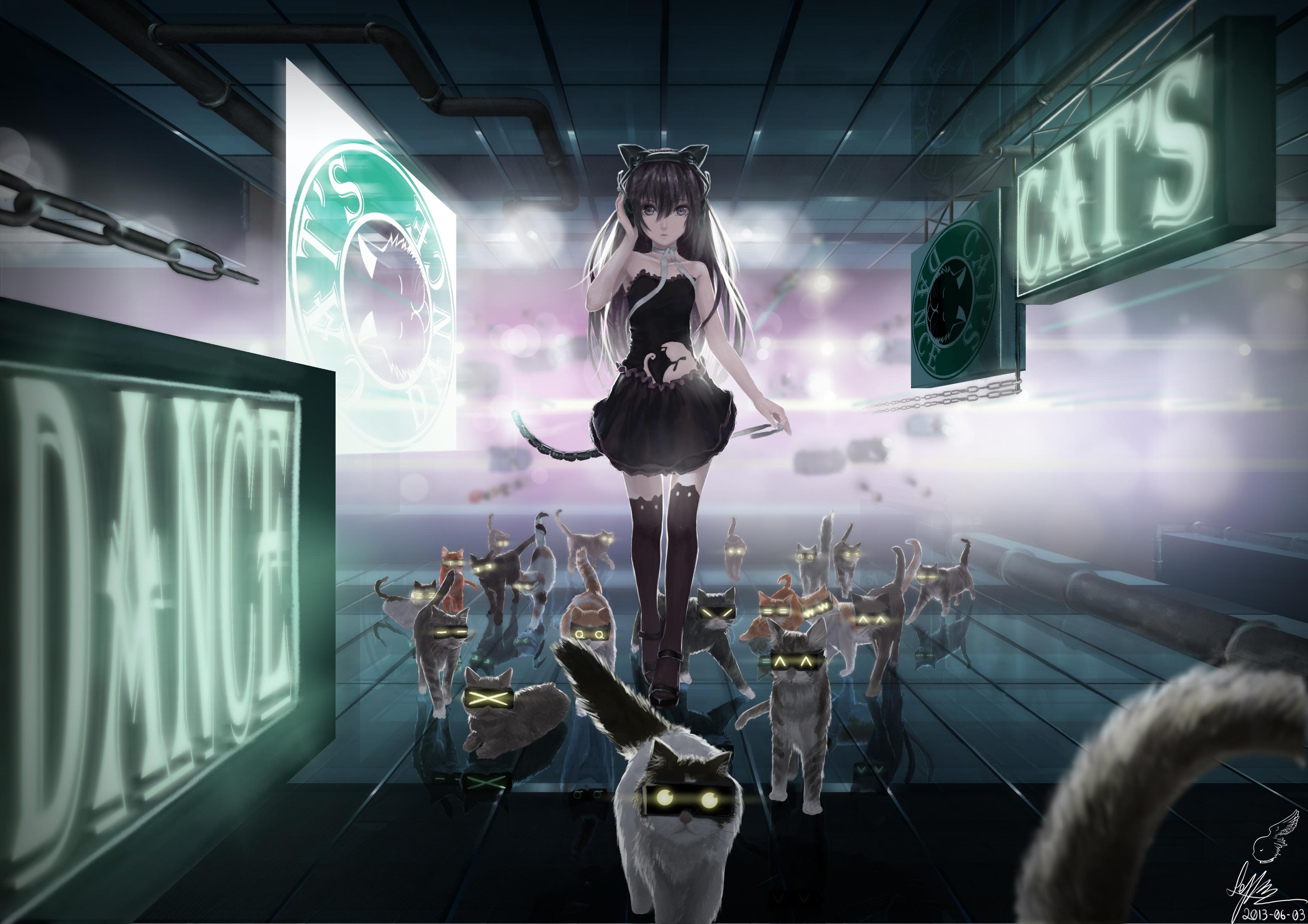 Cat Headphones Anime Animal_ears Cat Catgirl