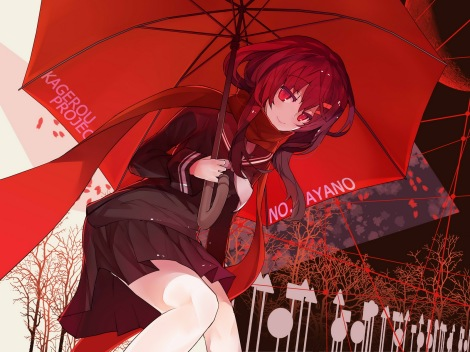 Konachan.com - 182151 jpeg_artifacts kagerou_project long_hair rain_lan red_eyes red_hair scarf seifuku skirt tateyama_ayano umbrella
