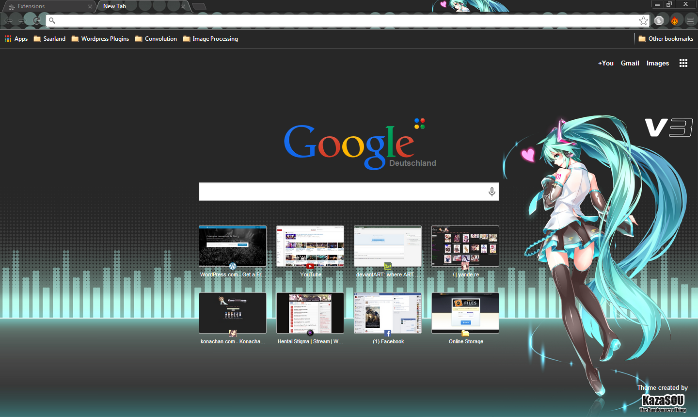 Google Chrome Theme: Hatsune Miku 13 | Randomness Thing