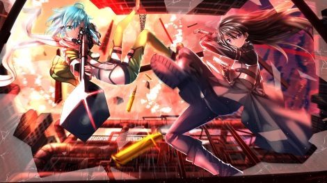 Konachan.com - 183884 black_hair blue_eyes blue_hair gun gun_gale_online kirigaya_kazuto scarf shinon_(sao) sword_art_online swordsouls weapon