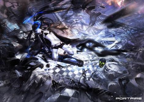 Konachan.com - 184366 bikini_top black_rock_shooter blue_eyes cape chain el-zheng gun kuroi_mato long_hair shorts skull twintails weapon