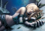 Konachan.com - 184630 blonde_hair elbow_gloves gloves kantai_collection lepus long_hair panties realistic rensouhou-chan shimakaze_(kancolle) underwater underwear water