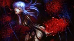 Konachan.com - 181312 breasts cleavage dark fate_stay_night flowers long_hair matou_sakura purple_hair red_hair ribbons tattoo yamanaka_kotetsu