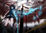 Konachan.com - 181452 black_hair blue_eyes kneehighs long_hair magic mek original shorts sword weapon wristwear
