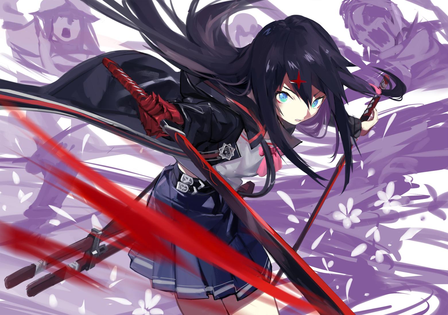 black hair anime girl katana choice image   hair and