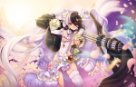 Konachan.com - 183566 black_hair blade_&_soul dress ecell eyepatch gun long_hair petals po_hwa_ran stockings twintails weapon white_hair yellow_eyes