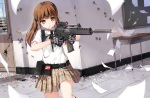 Konachan.com - 184096 blush brown_eyes brown_hair gloves gun kneehighs long_hair original paper skirt twintails weapon yuri_shoutu