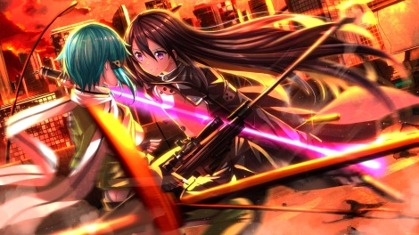 Konachan.com - 186811 armor black_hair green_hair gun gun_gale_online lightsaber long_hair male pink_eyes scarf shinon_(sao) short_hair sword swordsouls weapon